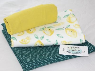 Stoffpaket Zitronen mit Smaragt BioQualität