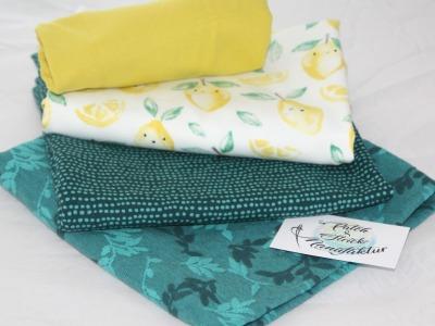 Stoffpaket Zitronen mit Smaragt und Jarquard