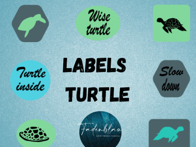 Plottdatei Seaside Turtels Labels - Fadenblau
