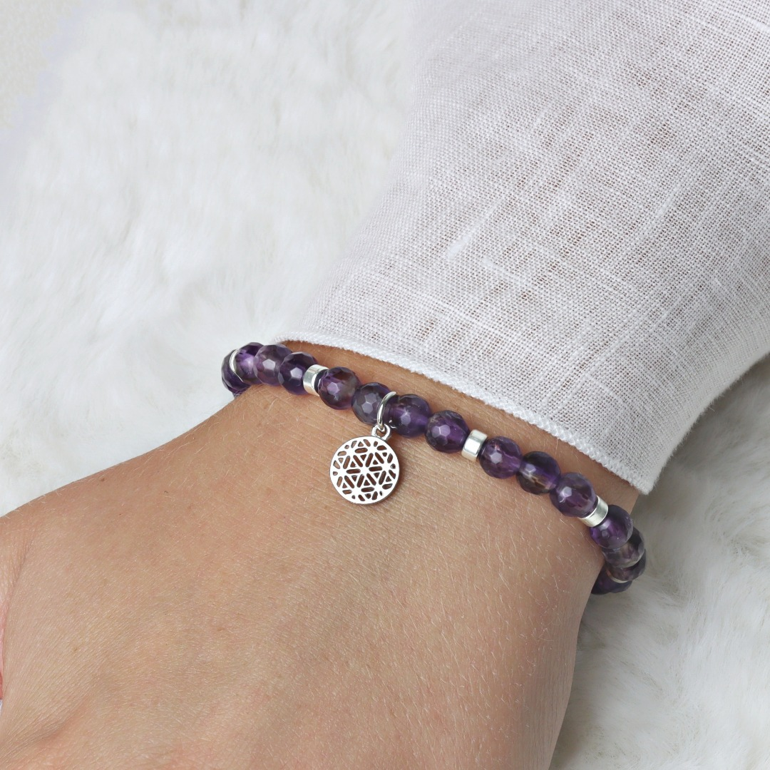 LEBENSBLUME Armband aus echtem Amethyst 925er