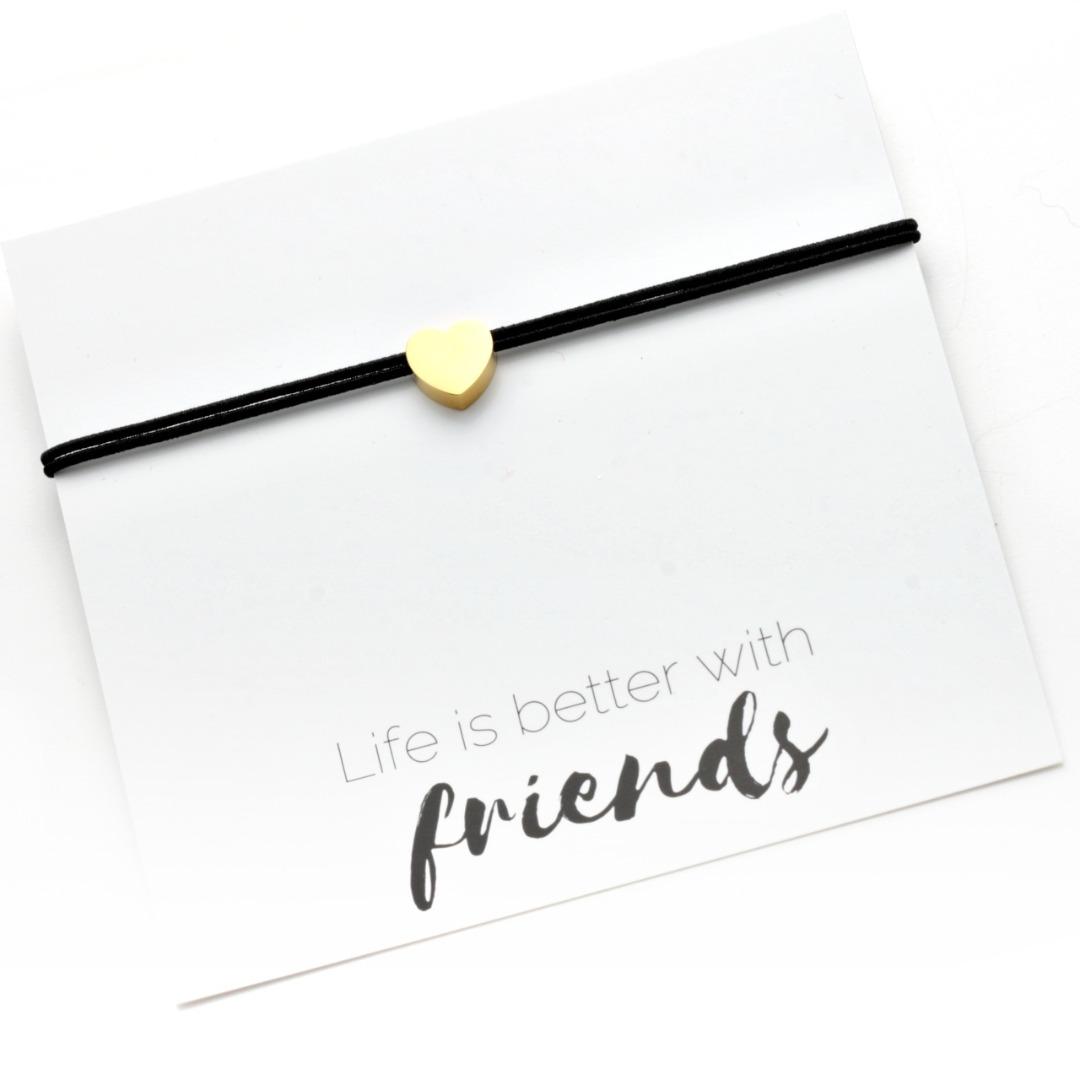 Freundschaftsarmband elastisches Herz-Armband gold kleines Liebes-