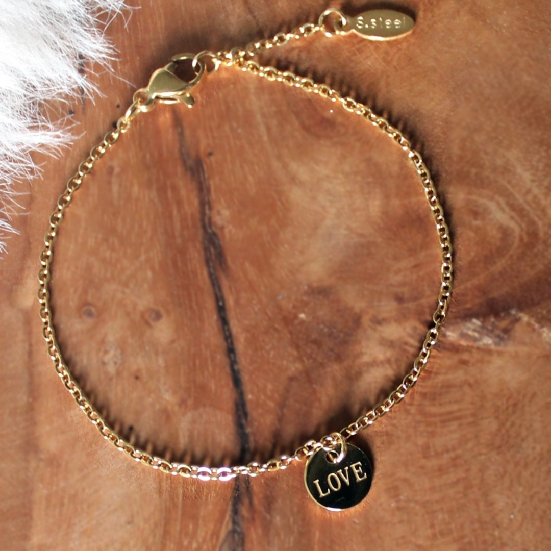 Filigranes Damen-Armband gold mit Anhänger PlättchenLove
