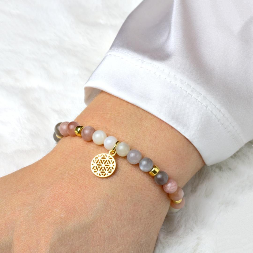 Lebensblume Armband aus Mondstein Silber vergoldet
