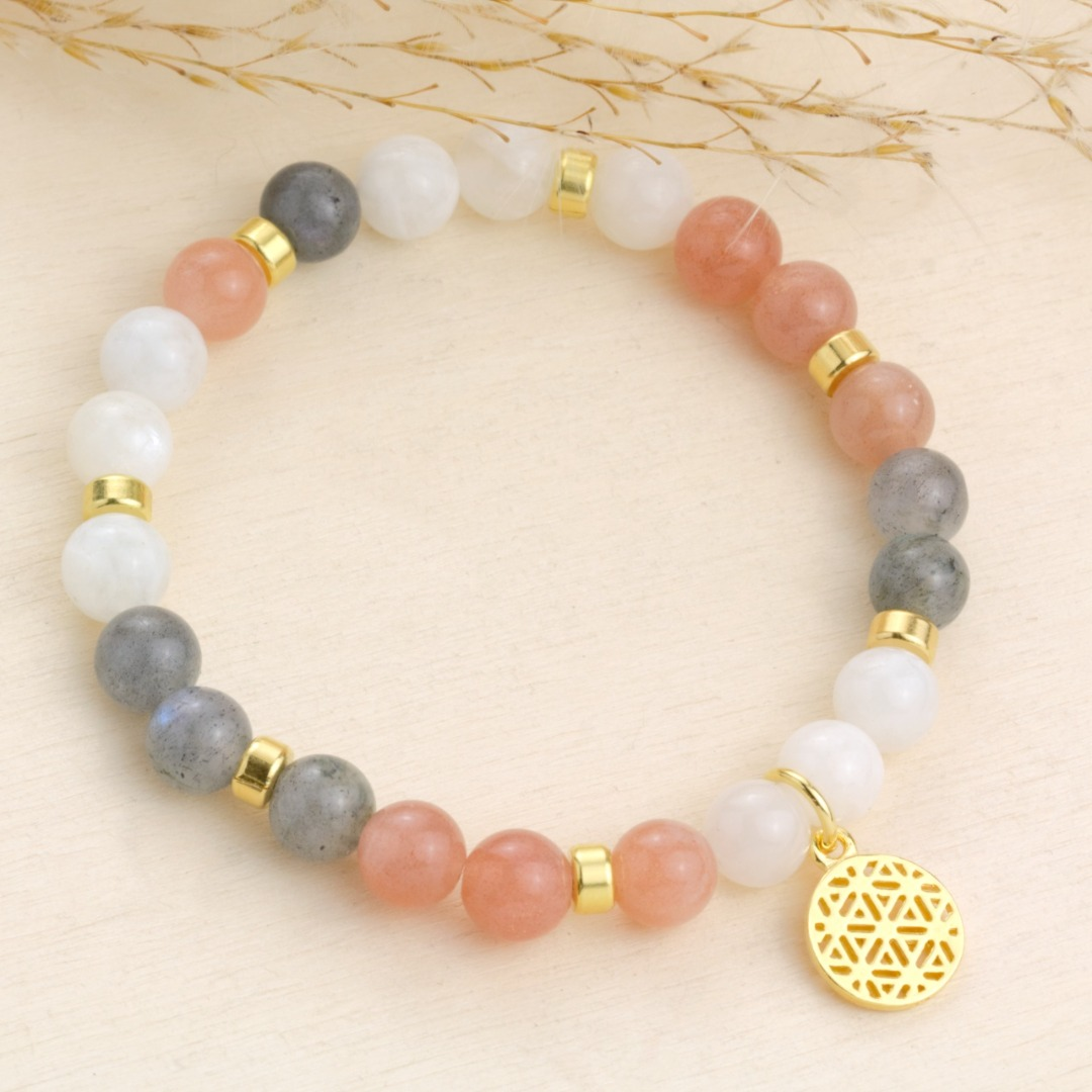 Lebensblume Armband aus Mondstein Silber oder