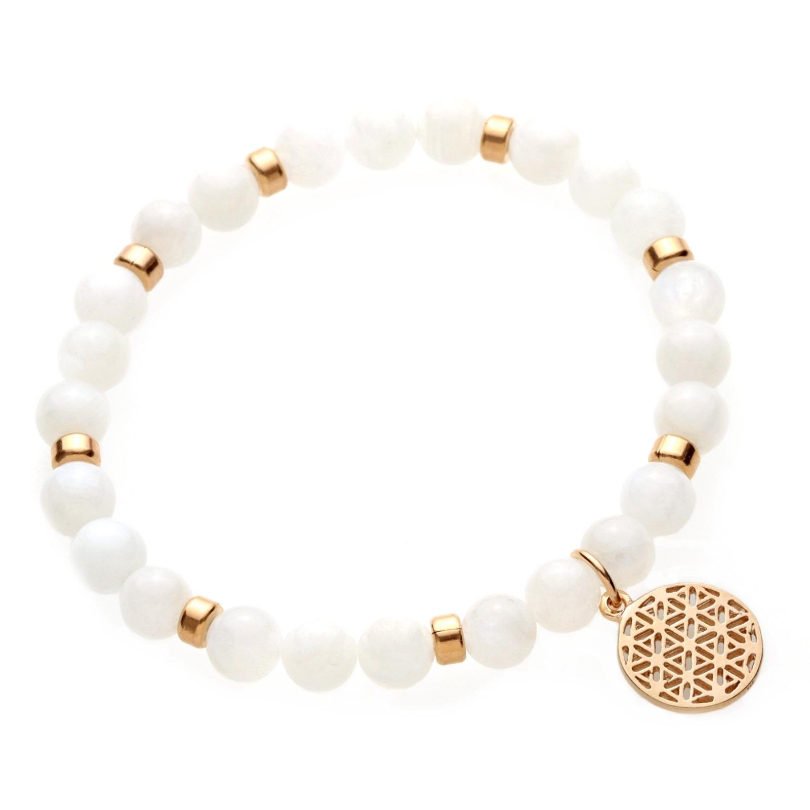LEBENSBLUME Armband Frauen aus weißen MONDSTEINEN