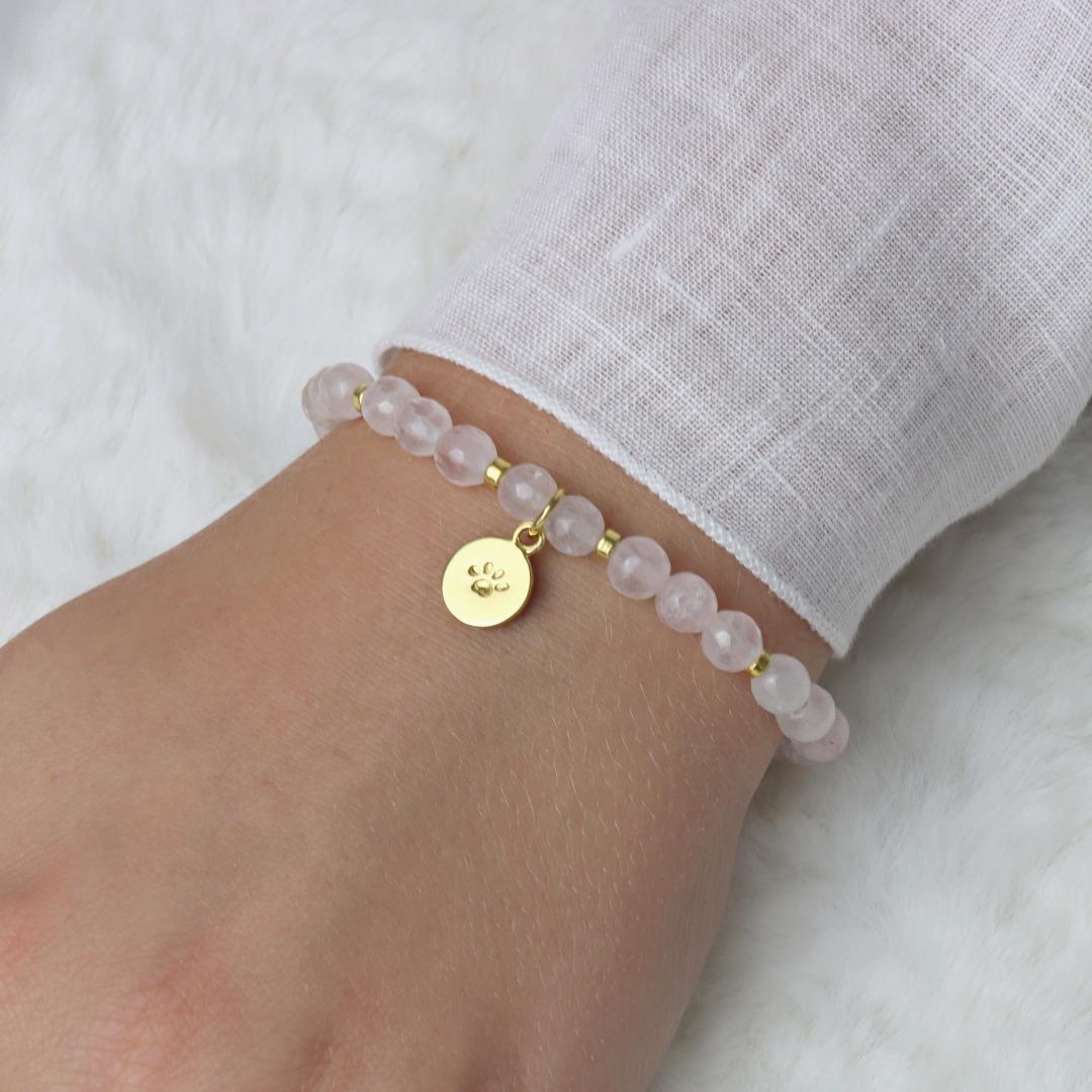 Armband aus Rosenquarz Anhänger Hundepfote Silber