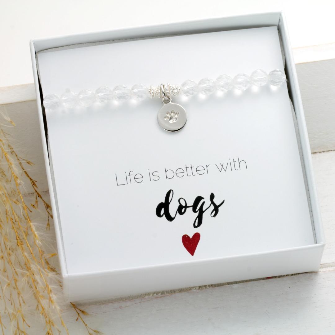 Armband aus Bergkristall Anhänger Hundepfote Silber