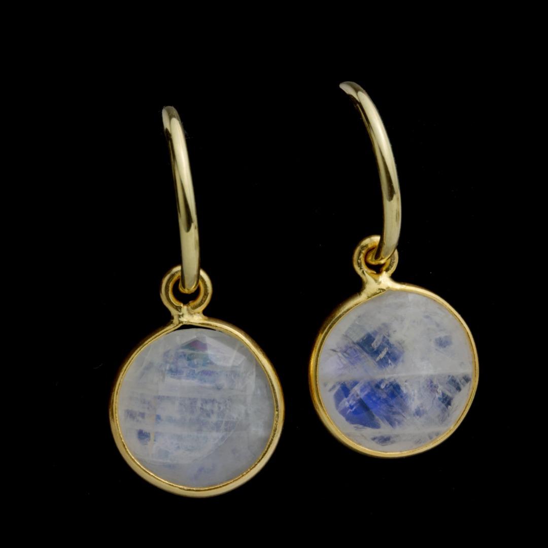 Creolen Silber vergoldet mit Anhänger weißer