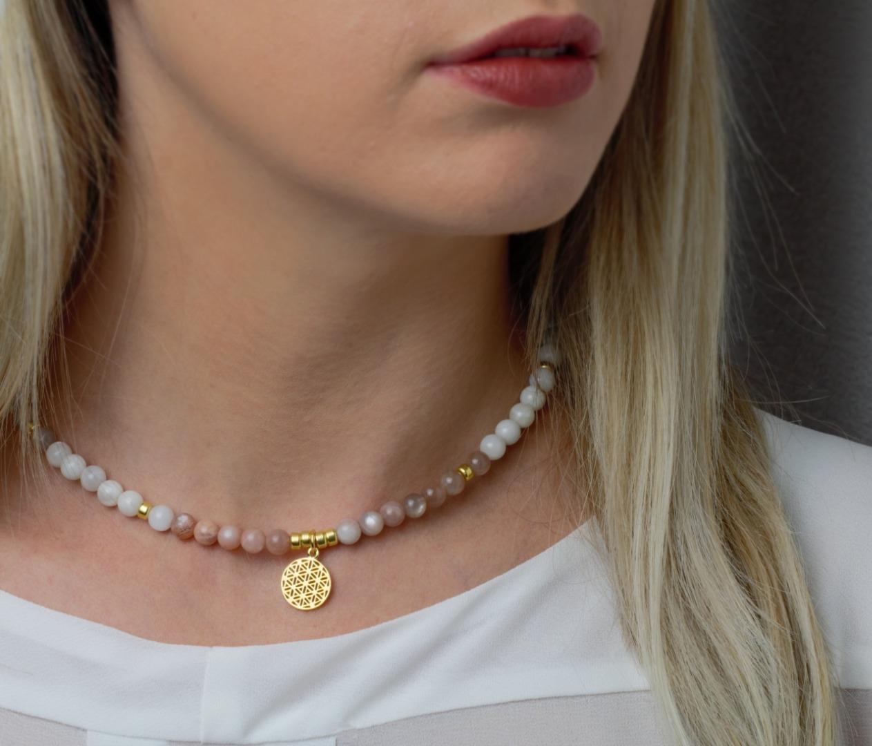 Echte Mondstein-Kette für Damen Silber oder