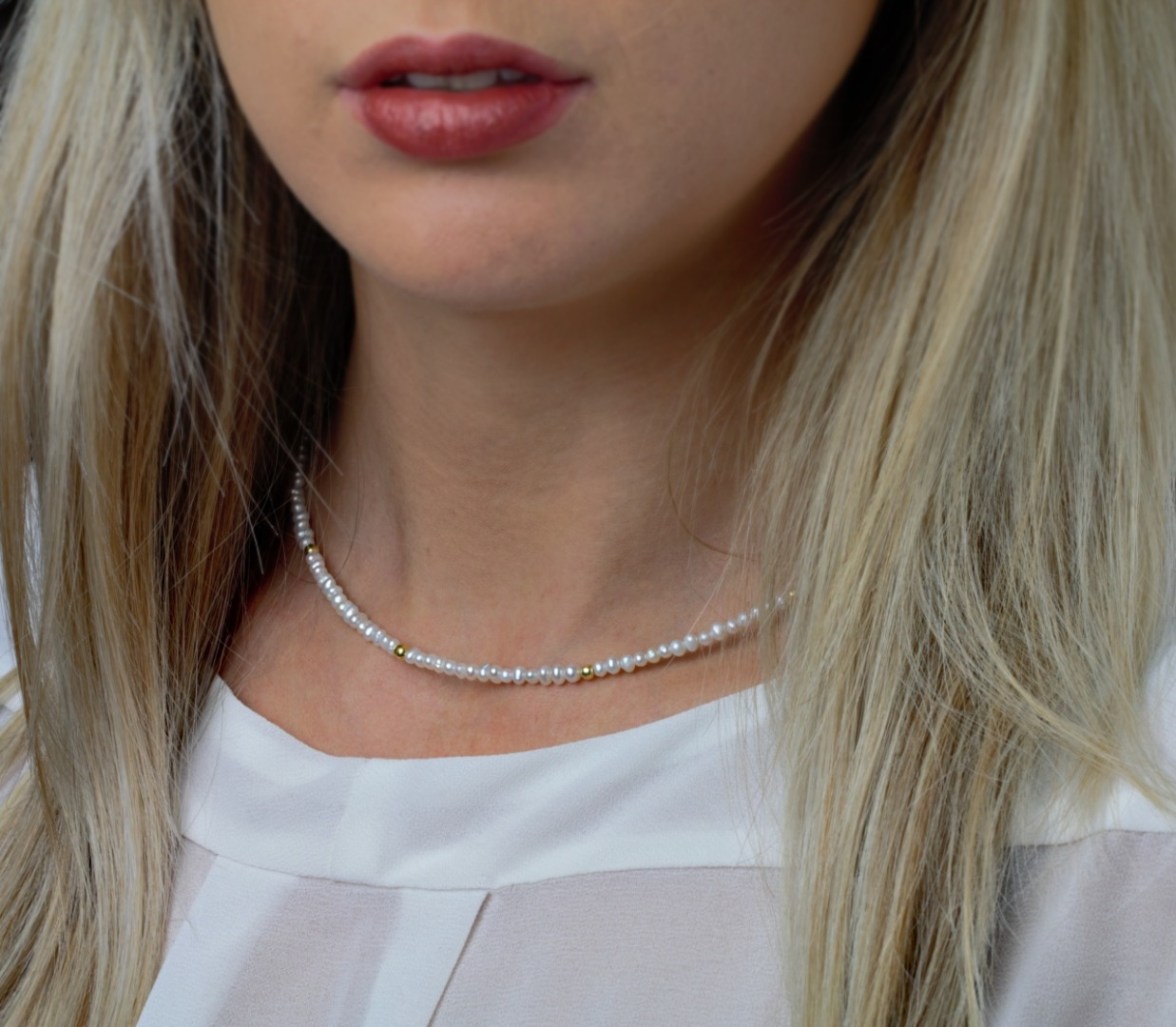 Feine Perlenkette aus echten Süßwasser-Perlen