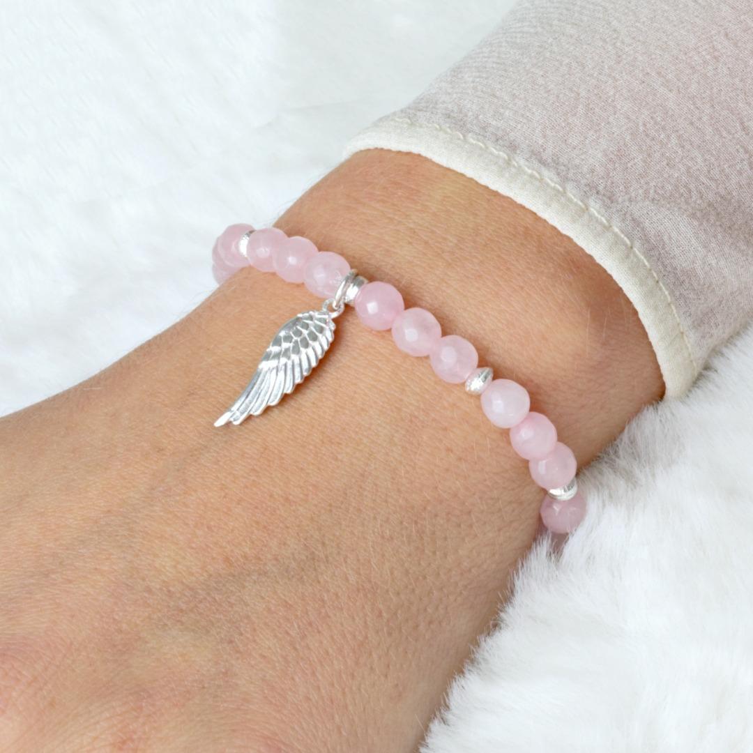 Rosenquarz Armband Frauen mit Engelsflügel 925er