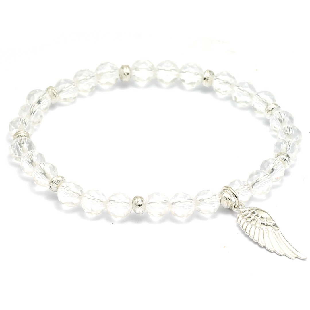 Bergkristall Armband Frauen mit Engelsflügel 925er