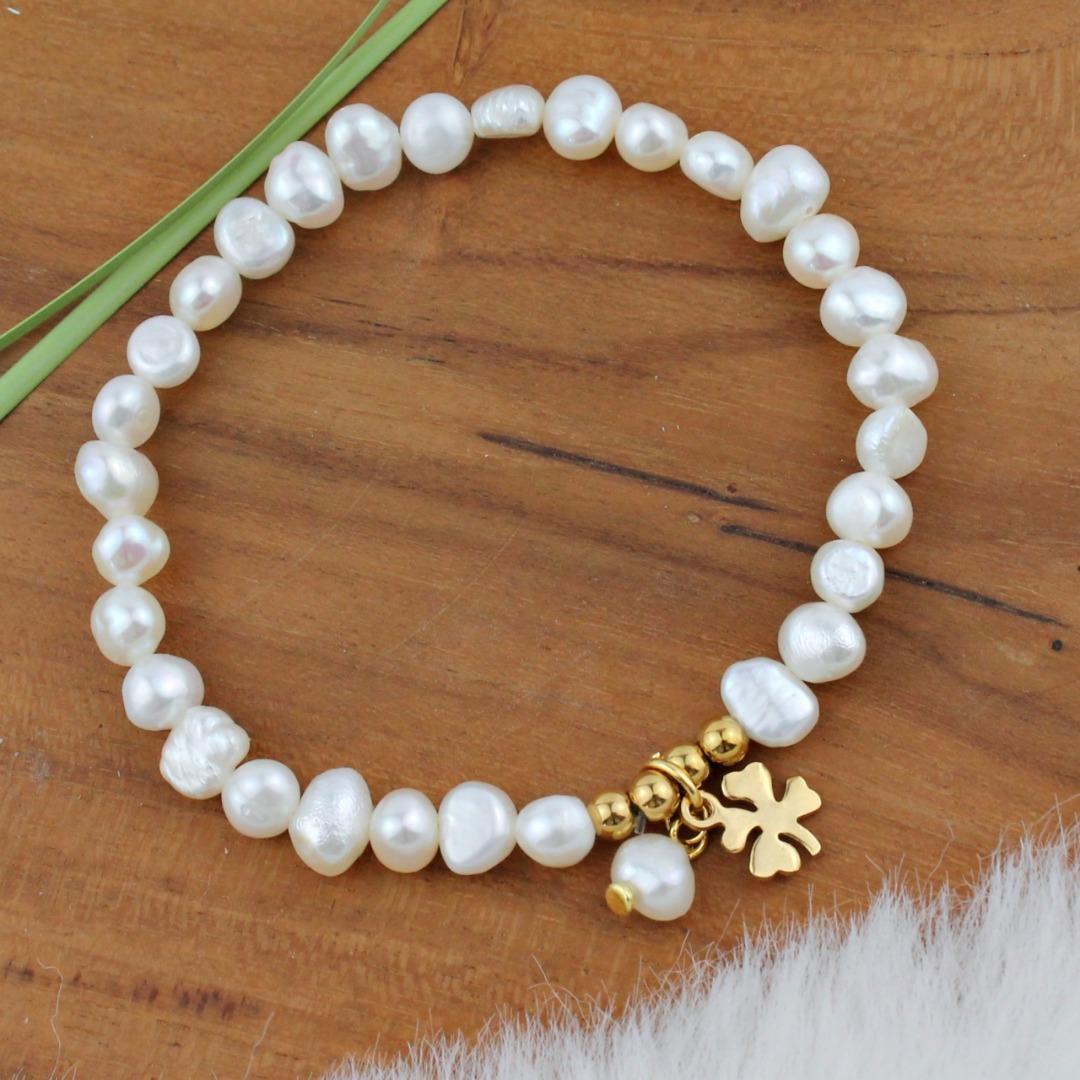 Glücks-Armband Damen aus echten Perlen mit