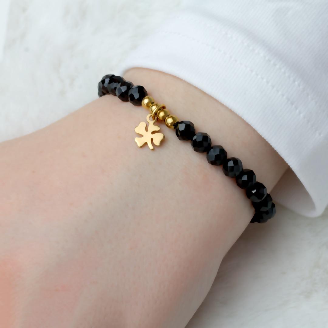 Glücksarmband schwarzer Turmalin Schörl-Armband mit kleinem