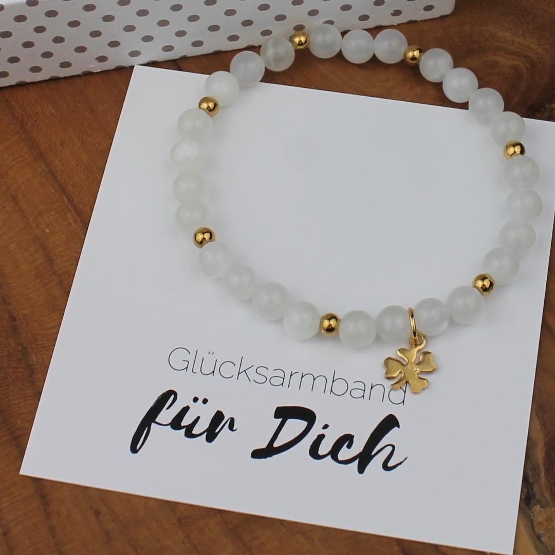 Glücks-Armband Damen aus echtem weißen Mondstein