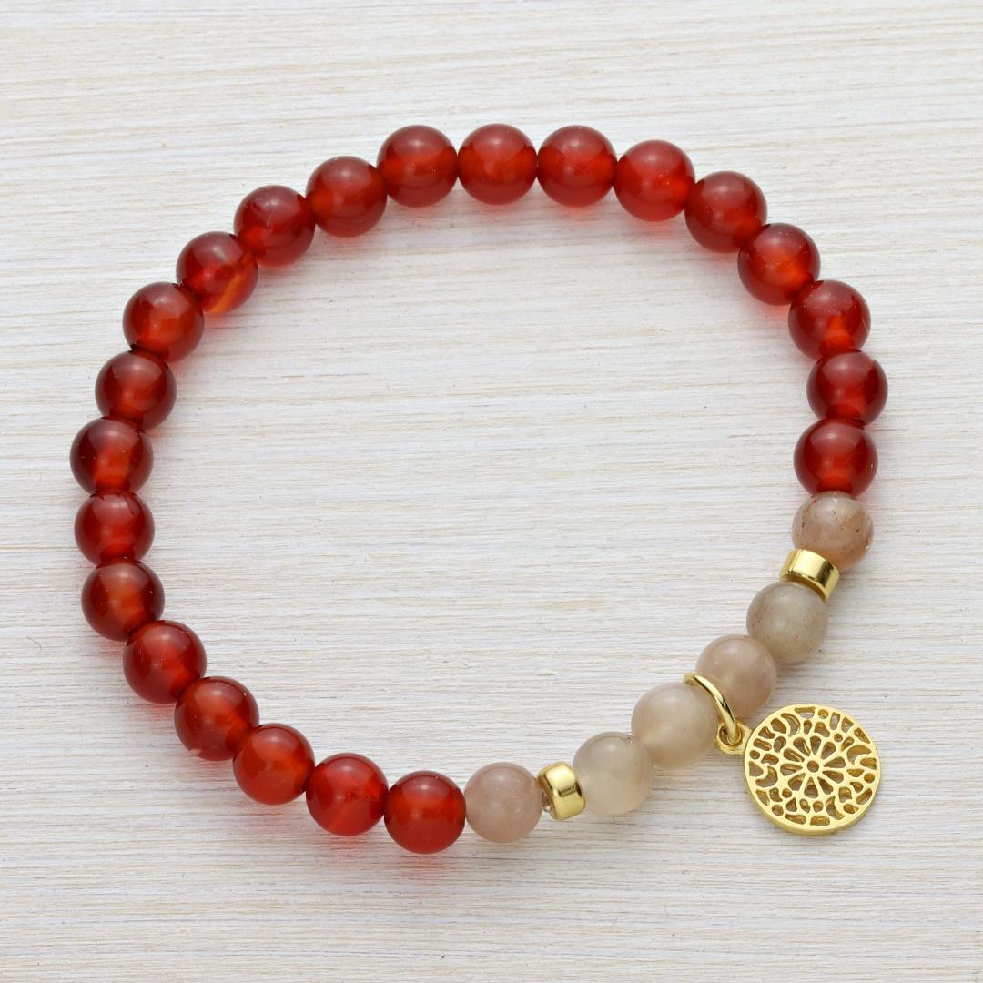 Armband aus Karneol und Mondstein mit