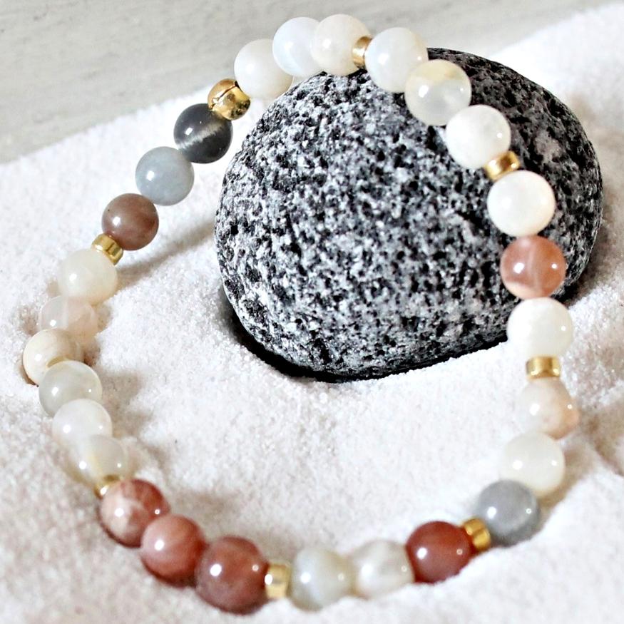 Armband Set echter Mondstein Mandala und