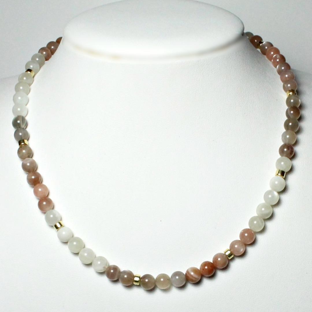 Echte Mondstein-Kette für Damen Silber vergoldet