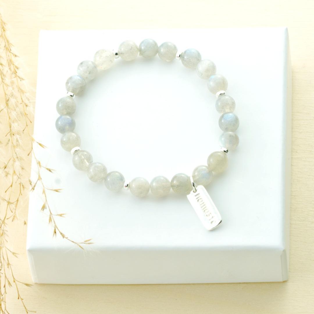 Armband Namastè aus grauen Mondsteinen Silber