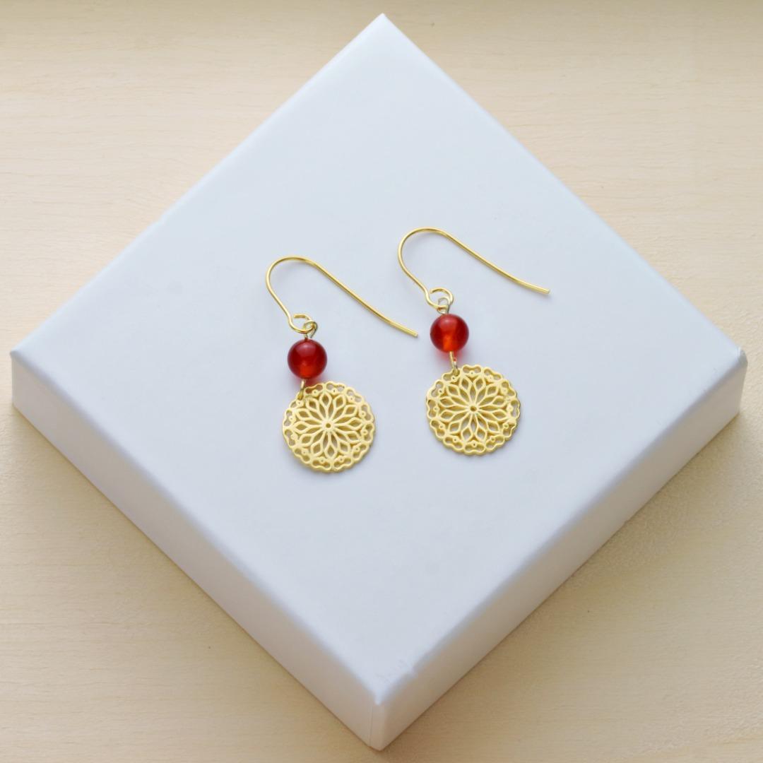 Karneol-Ohrhänger mit Mandala Silber vergoldet 3