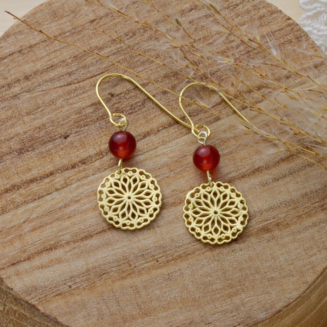 Karneol-Ohrhänger mit Mandala Silber vergoldet 2