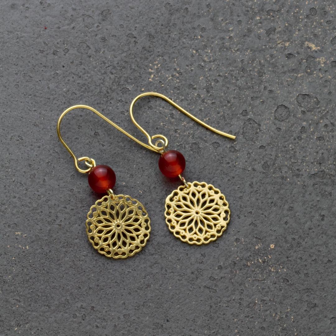 Karneol-Ohrhänger mit Mandala Silber vergoldet 5