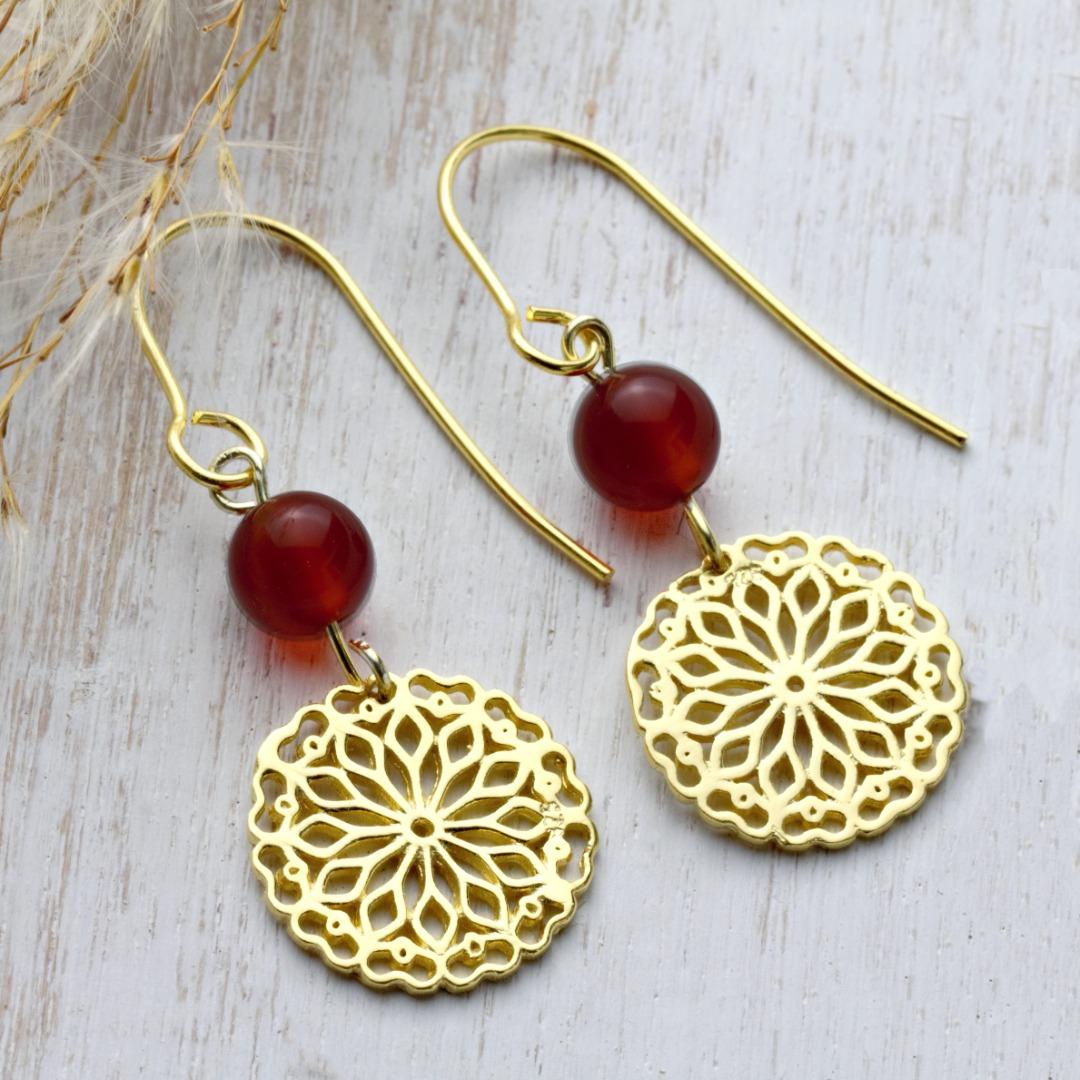 Karneol-Ohrhänger mit Mandala Silber vergoldet 4