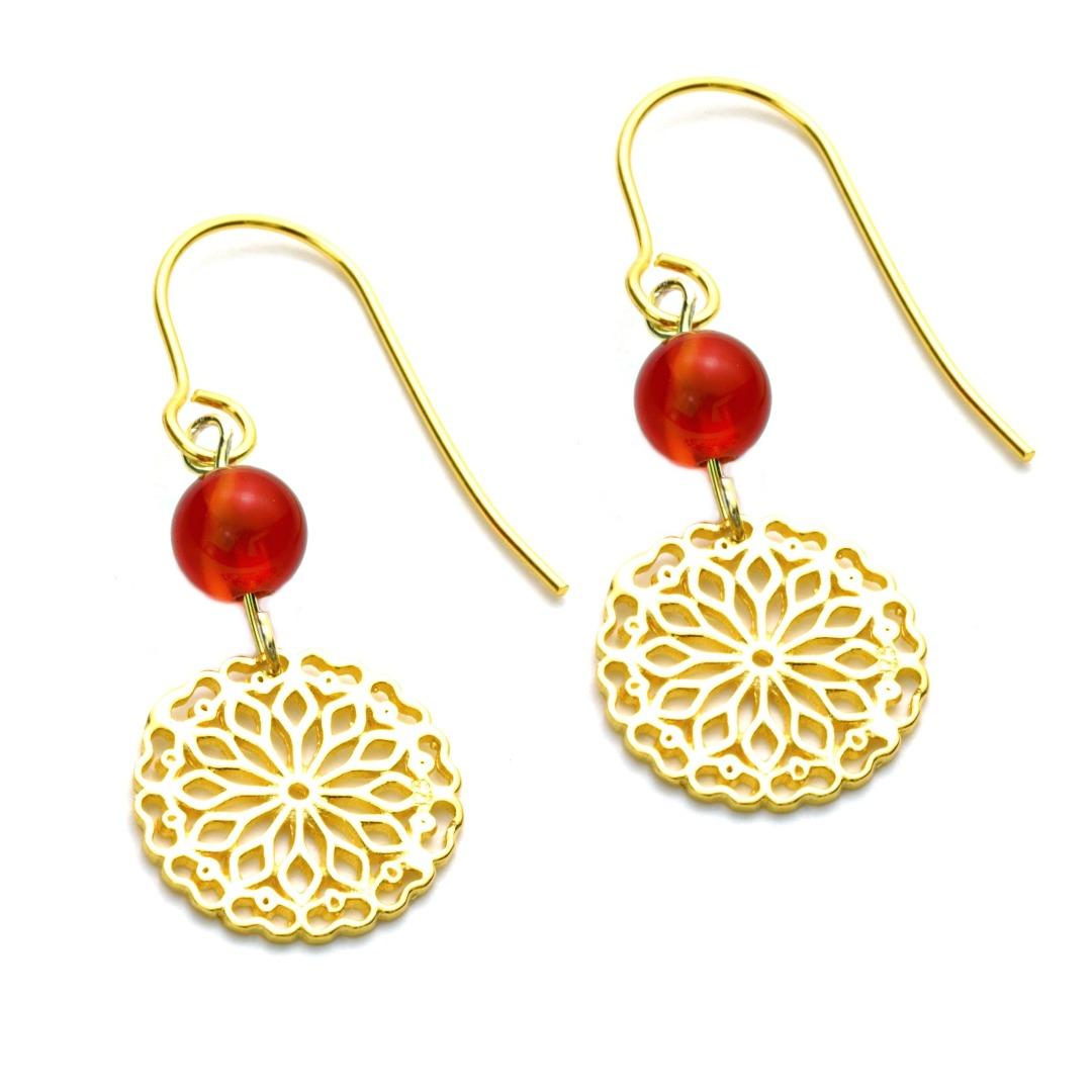 Karneol-Ohrhänger mit Mandala Silber vergoldet
