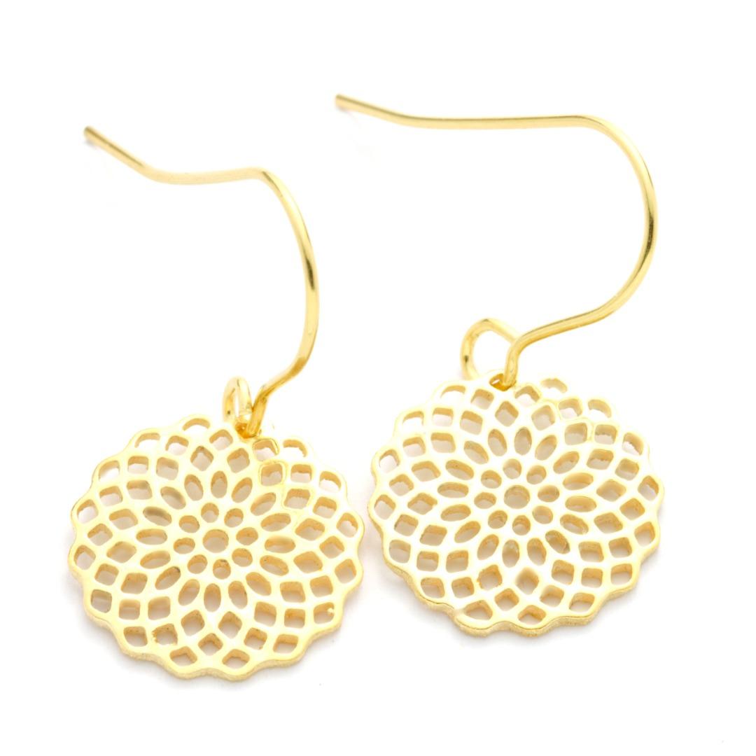 Ohrhänger Mandala echt Silber vergoldet