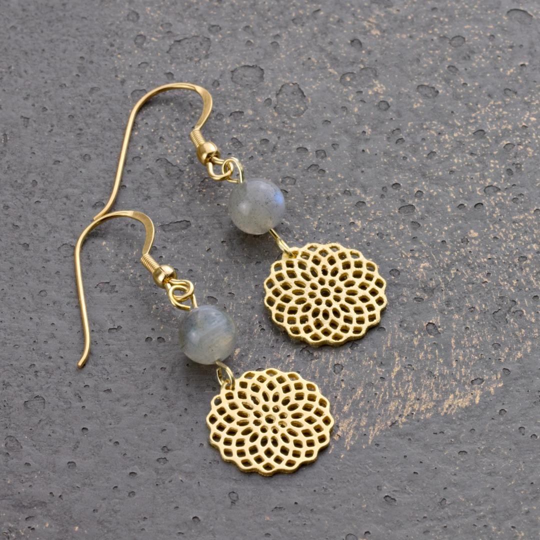 Mondstein-Ohrhänger mit Mandala Silber vergoldet 5