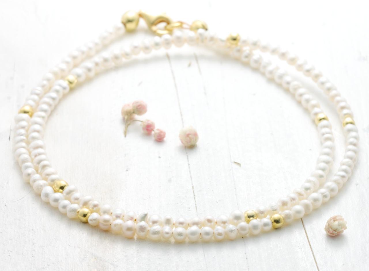 Feine Perlenkette aus echten Süßwasser-Perlen 2