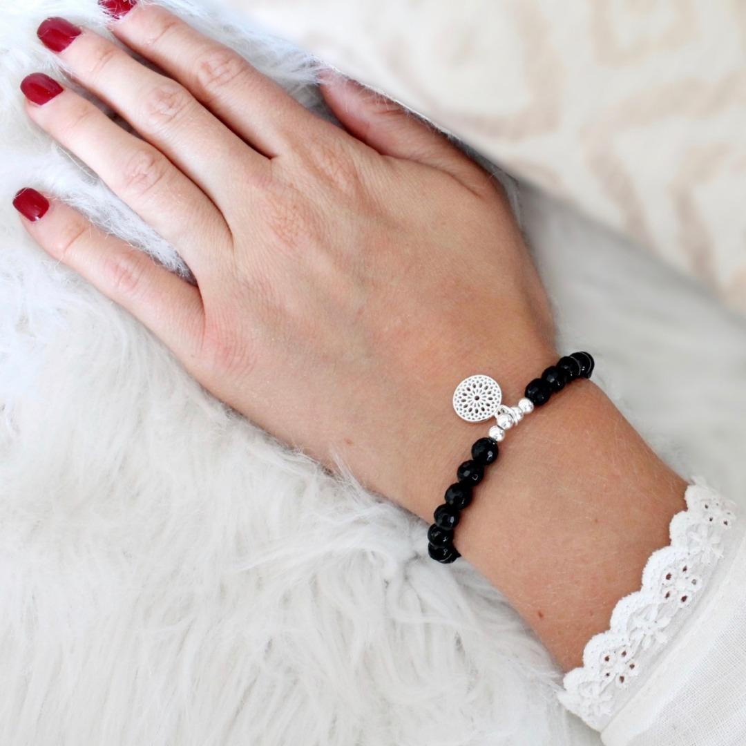 Armband schwarzer Turmalin Schörl-Armband mit Mandala