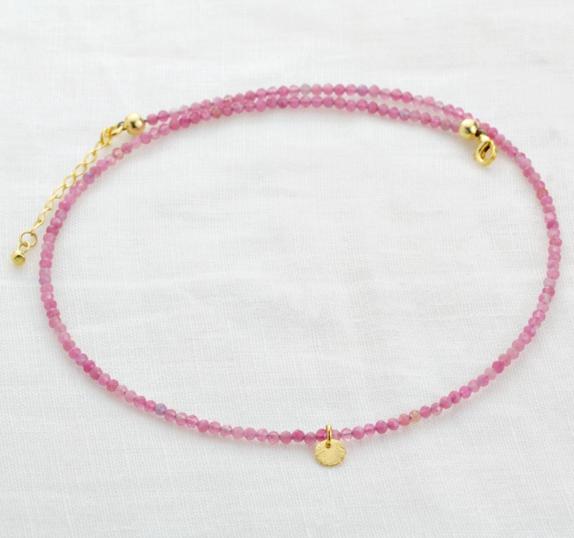 Feine Edelstein-Halskette Damen aus echtem Pink