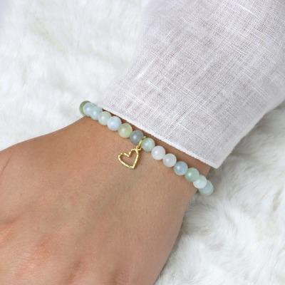 Armband aus Aquamarin mit kleinem Herz