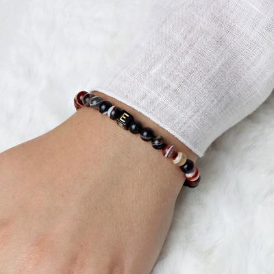 Karneol Partnerarmband Unisex personalisierbar Elastisches Armband