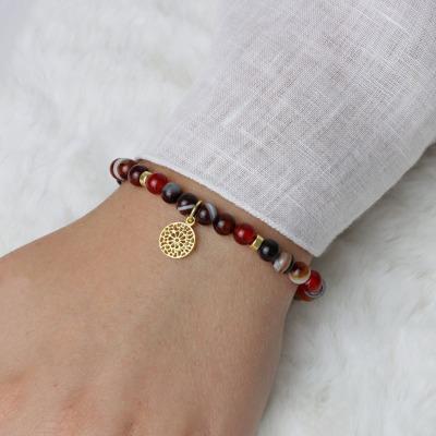 Karneol-Armband mit Mandala Elastisches Armband aus