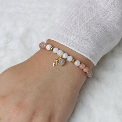 Verstellbares Armband aus echten Mondsteinen Verstellbares
