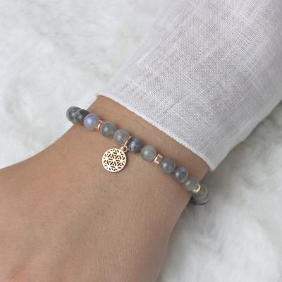 LEBENSBLUME Armband Frauen aus grauen MONDSTEINEN