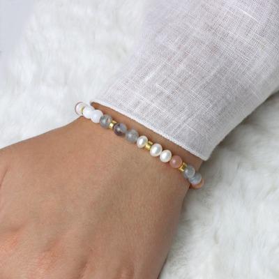 Echtes Mondstein Armband Damen mit Süßwasserperlen