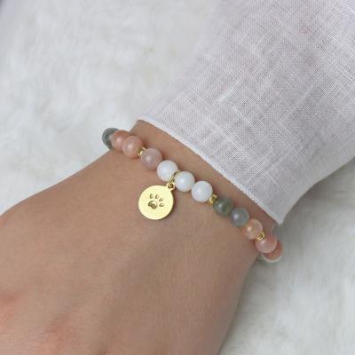 Armband aus Mondstein multicolor Anhänger Hundepfote