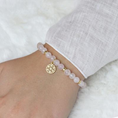 LEBENSBLUME Armband Frauen aus echtem ROSENQUARZ