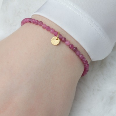 Armband aus echtem Pink Turmalin mit