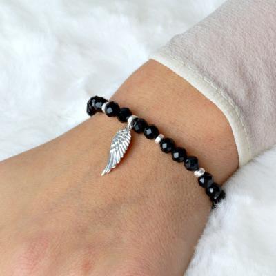 Schwarzer Turmalin Schörl Armband Frauen mit