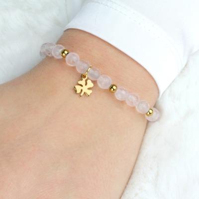 Glücks-Armband Damen aus echtem Rosenquarz mit