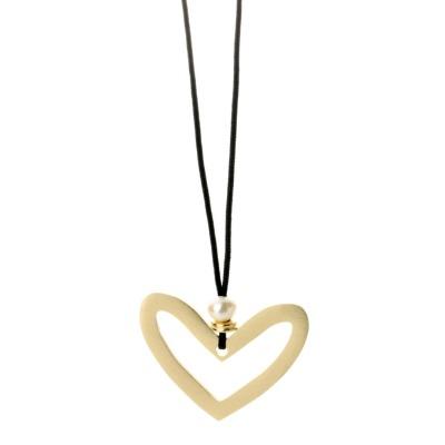 Lange Herz-Kette mit echter Perle gold