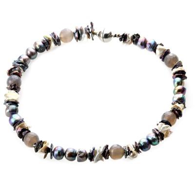 Collier aus Süßwasser-Zuchtperlen dunkelgrau Perlencollier mit