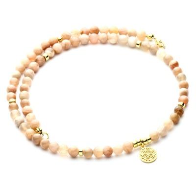 Echte Mondstein-Kette rosè-beige für Damen Silber