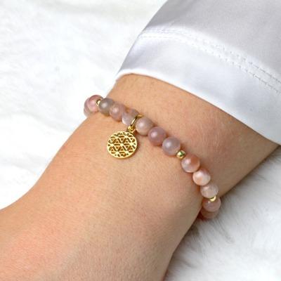 Lebensblume Armband aus Mondstein rosè-beige Silber