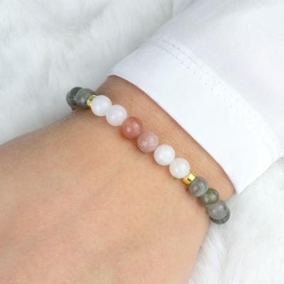 Echtes Mondstein Armband Damen grau elastisch