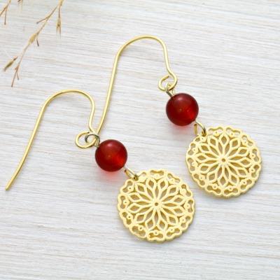 Karneol-Ohrhänger mit Mandala Silber vergoldet Sommertrend